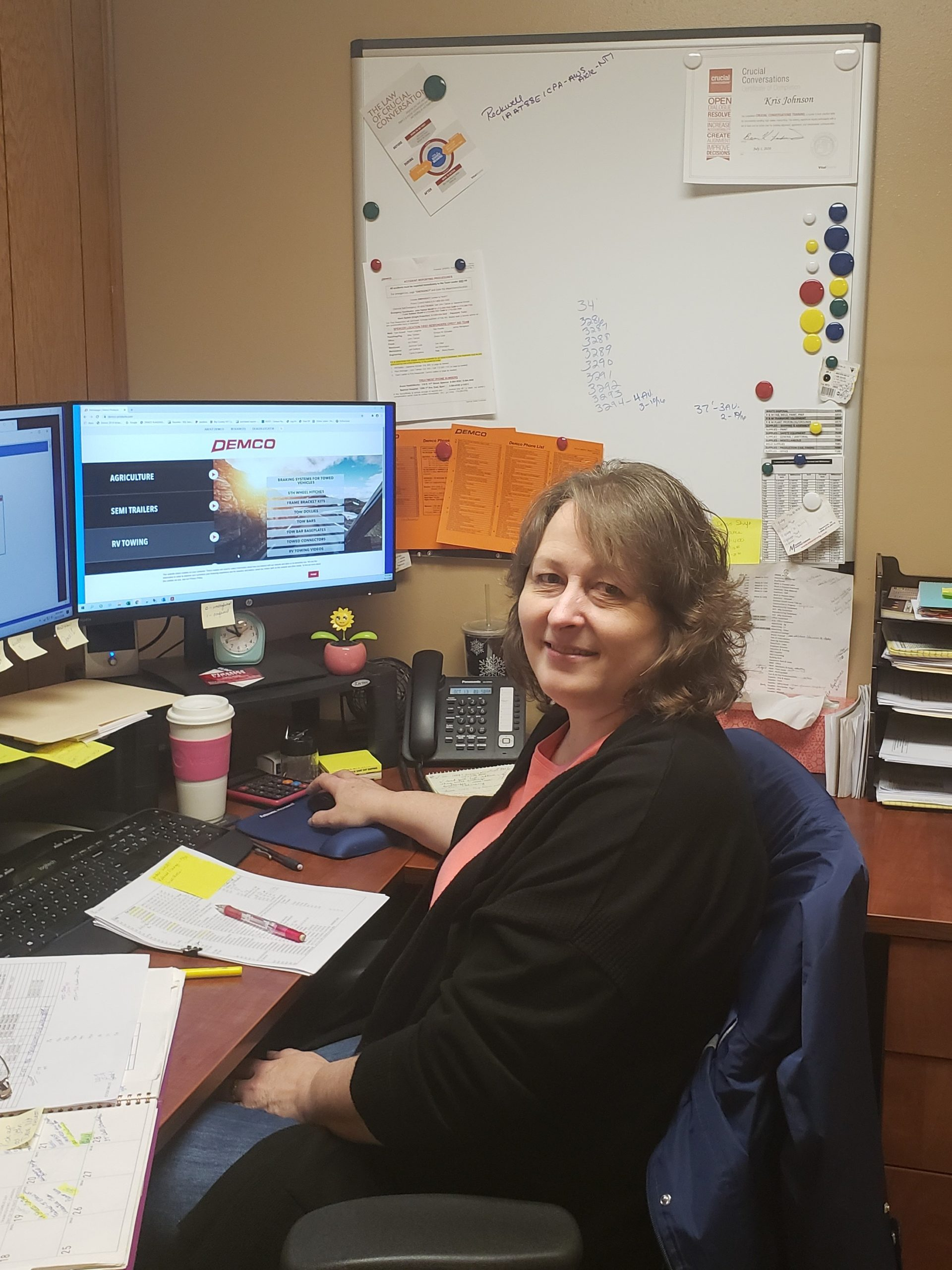 Kristi Johnson of Demco Products at her desk