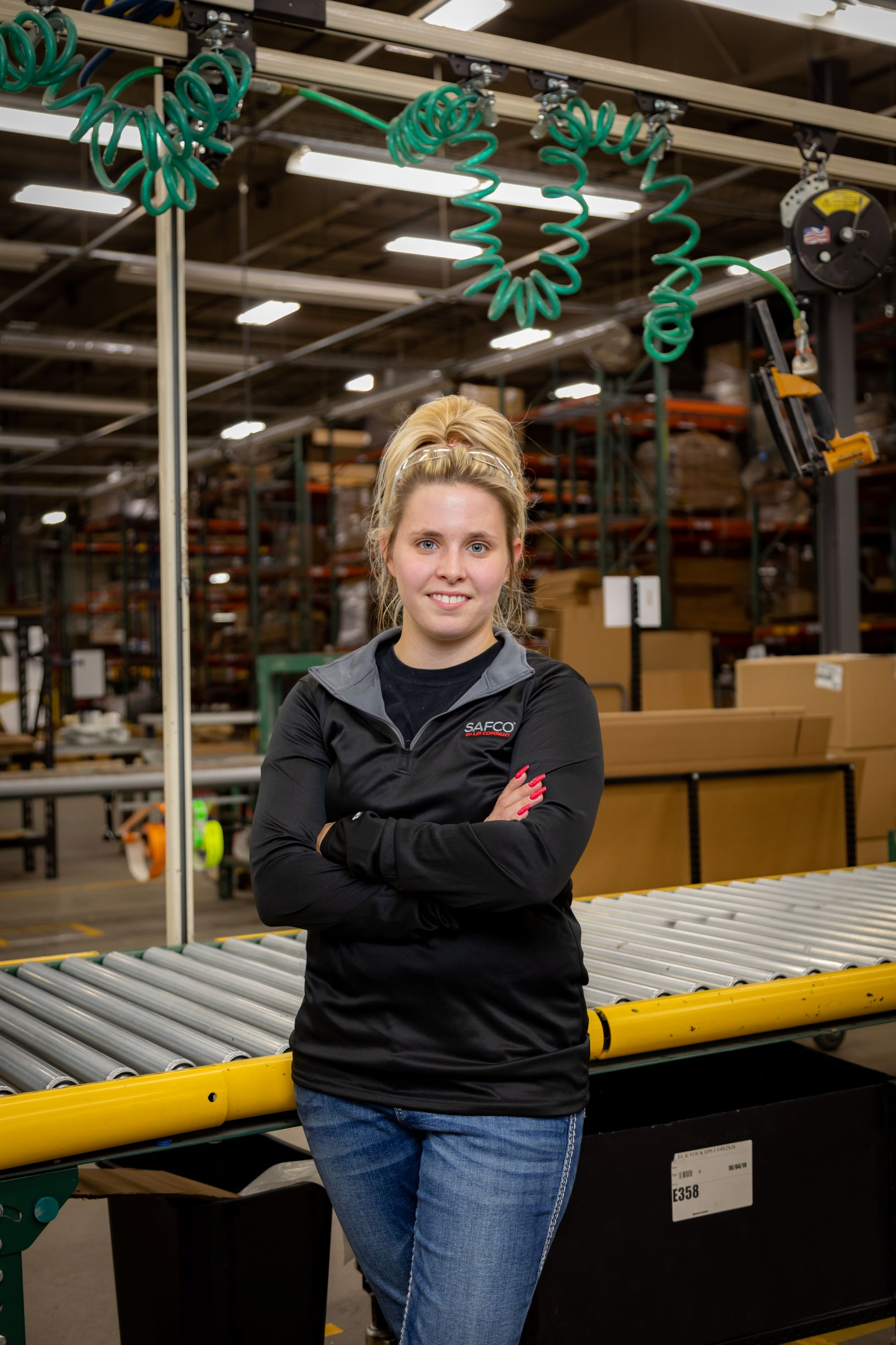 Tiffany Plagman in the Safco Products facility